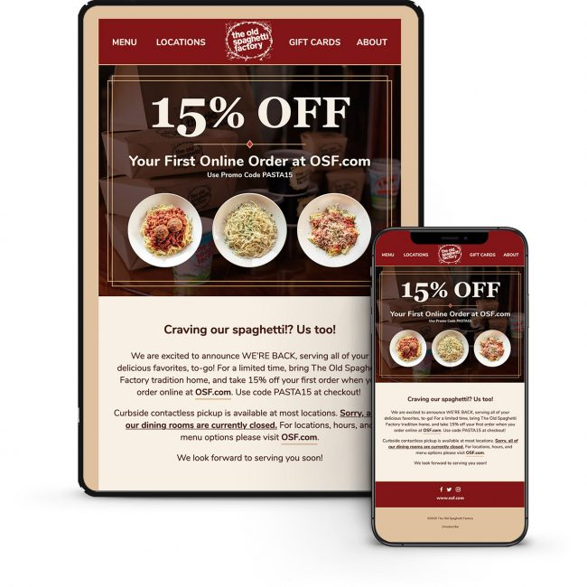 HTML Email Design for The Old Spaghetti Factory